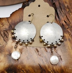 NWT Vintage artisan gypsy silver pearl nudes ivory